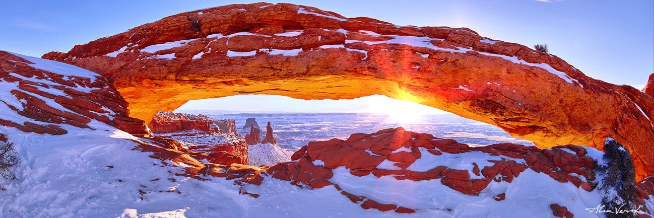 Winter Snow Mesa Arch, Limited edition nature photo, Canyonlands National Park Photo, Alexander Vershinin, luxury photo