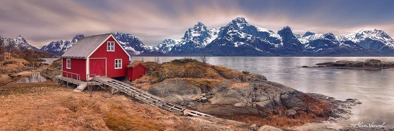 Lofoten, Norway red house, fisherman shelter, lone house, Alexander Vershinin, Fine Art photo