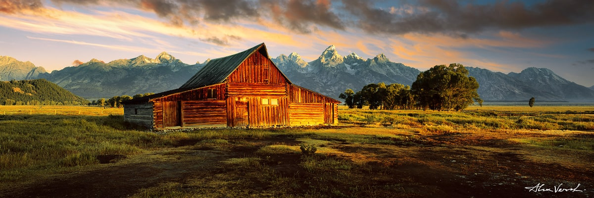Limited edtion, Fine Art, And One Sun For All, Alexander Vershinin, Wyoming Landscape Photography, Grand Teton, famous barn, mormon barn, photo