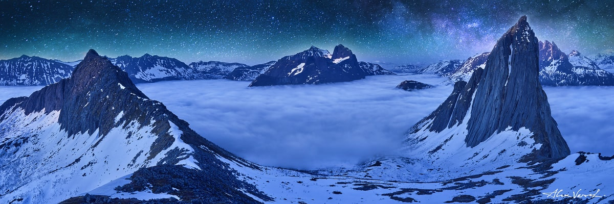 Norway Landscape Photography, Citadel, Alexander Vershinin, Senja, starry sky, above the clouds, photo
