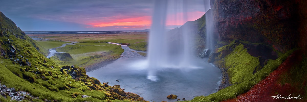 Limited edtion, Fine Art, Dusk, Alexander Vershinin, Seljalandsfoss, icelandic photography, falling water, photo