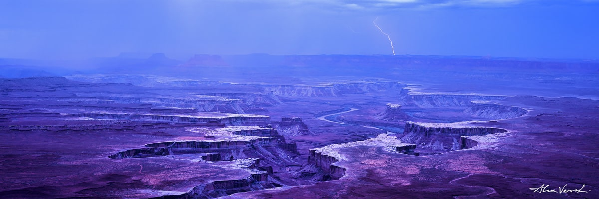Limited edtion, Fine Art photo, Utah Nature Photography, Great Snake Trail, Alexander Vershinin, Canyonlands, thunder bolt, lightning, canyon