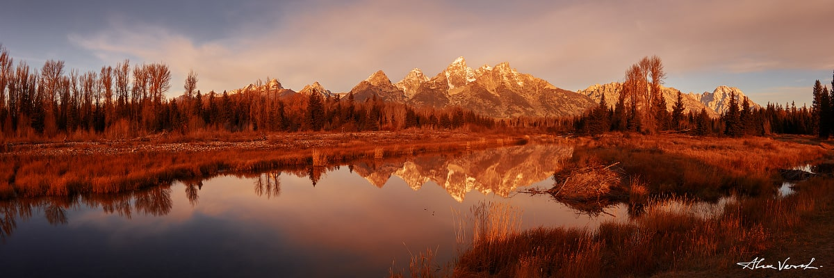 Limited edtion, Fine Art, Kiss Of The Sky, Alexander Vershinin, Wyoming Photography, Grand Teton, river reflection, photo