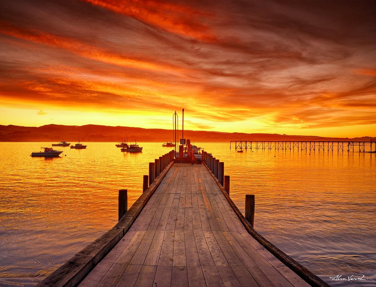 Limited edtion, New Zealand Photography, Fine Art, Burning sky, pier, Alexander Vershinin, photo