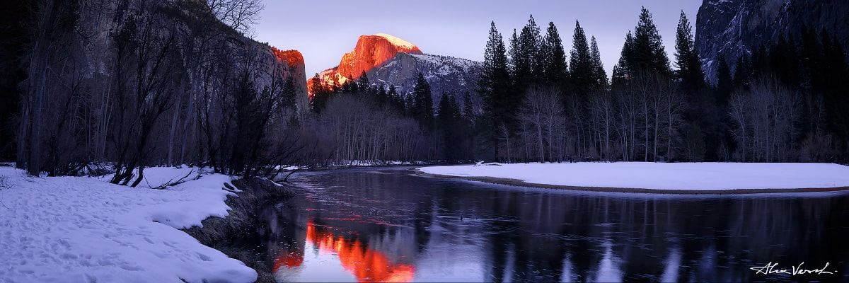 Limited edtion, Fine Art, Night Angel, Alexander Vershinin, Yosemite Parl, California Landscape Photography, half dome, mountain Sentinel, river reflection, snow wintertime, photo