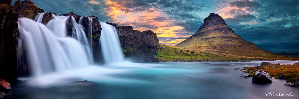 Limited edtion, Fine Art, The Call Of The Dancing Waters, Alexander Vershinin, waterfall, Iceland, Icelandic Photography Collection, Kirkjufell mountain, photo