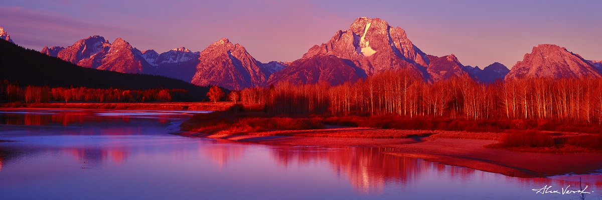 Limited edtion, Fine Art, The Crimson Portrait, Alexander Vershinin, Wyoming Photography, Grand Teton, oxbow bend, photo