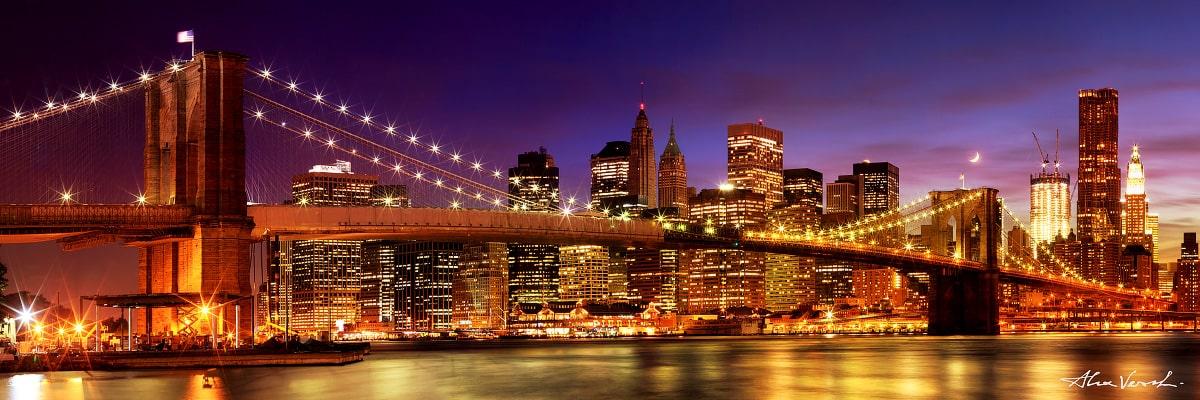 Limited edtion, Fine Art, Whoever Ignites The Night, Alexander Vershinin, New York city, big apple, night bridge, manhattan, brooklyn bridge, photo